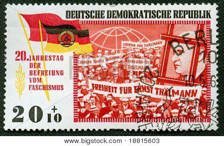 East Germany propaganda vintage  stamp