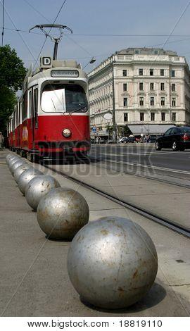Tram on Vienna street, Austria