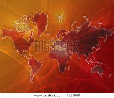 Data Transfer Over A Map Of The World Red Orange