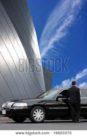 Limousine driver waiting for passenger