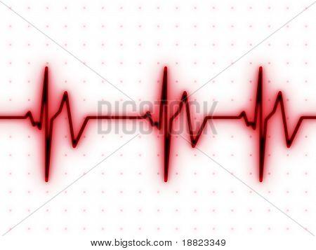 Batida de coração vermelha ECG