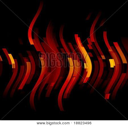 Abstract orange glowing shapes on black