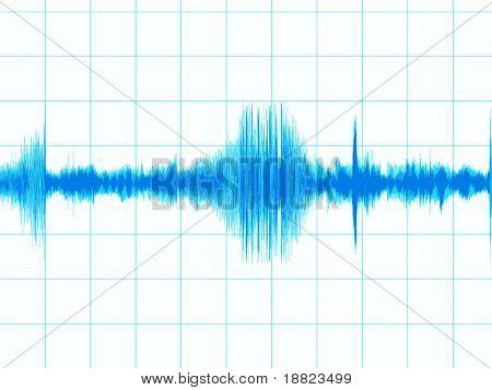 Blue sound wave on white