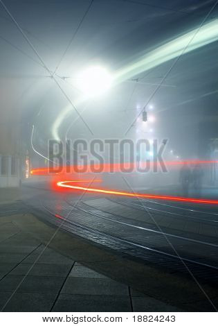 Vehicle light trails in night