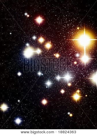 Closeup of distant stars