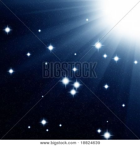 Space scene with bright gowing stars