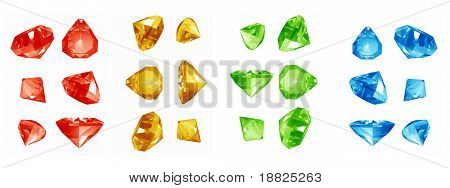 Colorful jewels on white background
