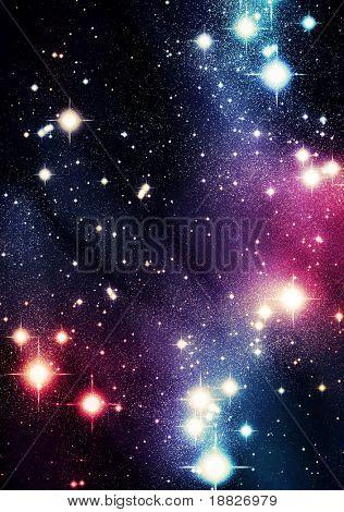 Colorful stars in sky