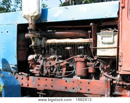 Old Tractor Engine Close-Up.