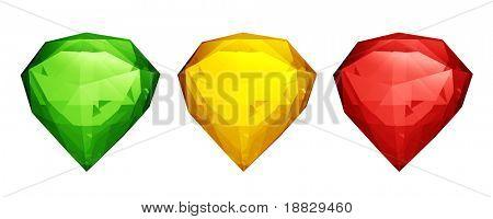 Three colored diamonds