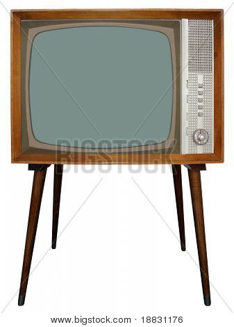 Old Nostalgic Television with clipping path