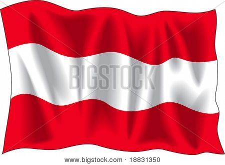 Waving flag of Austria isolated on white