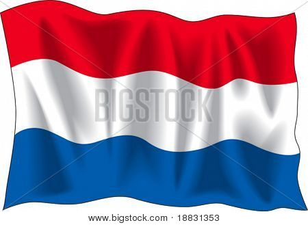 Waving flag of Netherlands isolated on white