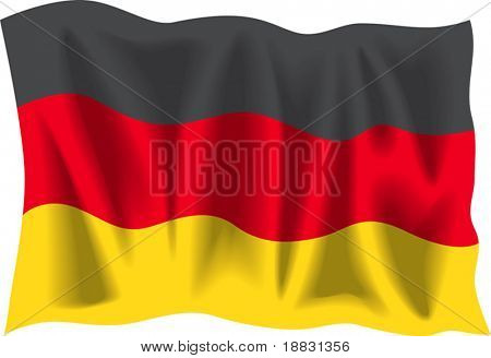Waving flag of Germany isolated on white