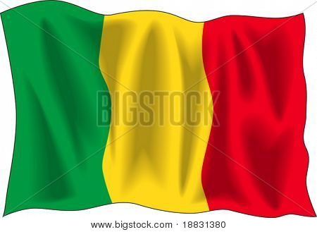 Waving flag of Mali isolated on white