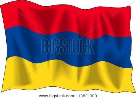 Waving flag of Armenia isolated on white