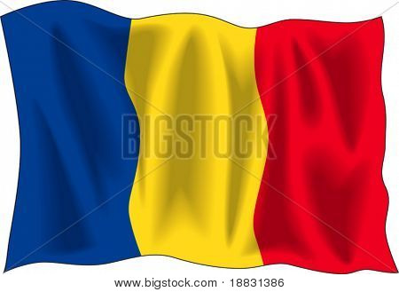 Waving flag of Romania isolated on white