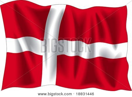 Waving flag of Denmark isolated on white