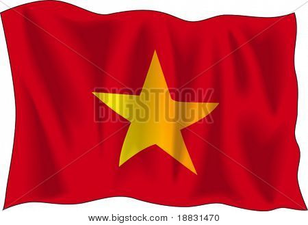 Waving flag of Vietnam isolated on white background