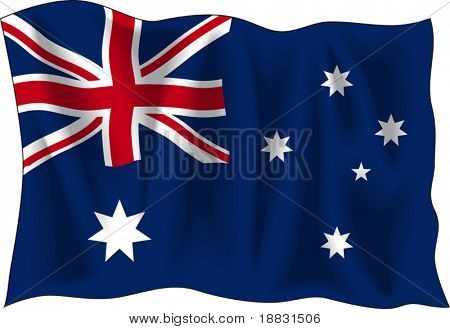 Waving flag of Australia isolated on white