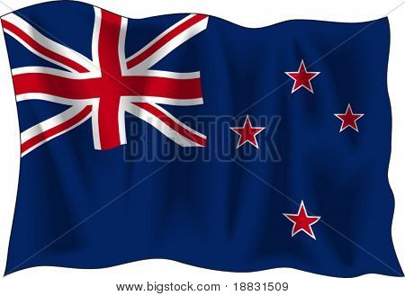 Waving flag of New-Zealand isolated on white