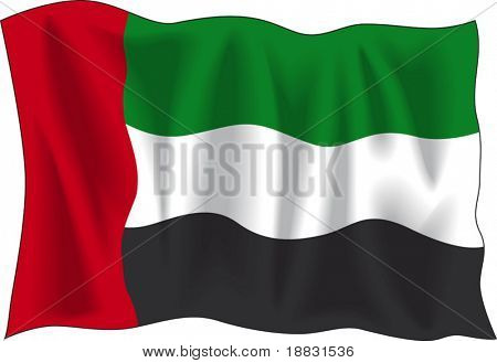 "Waving flag of ""United Arab Emirates"" isolated on white"