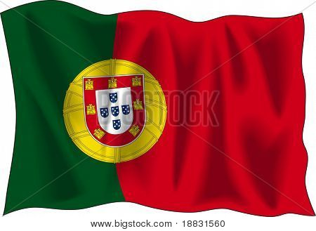Waving flag of Portugal isolated on white