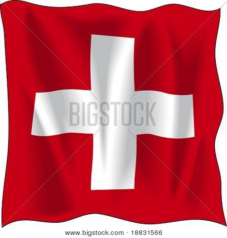 Waving flag of Switzerland isolated on white