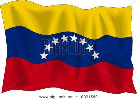Waving flag of Venezuela isolated on white