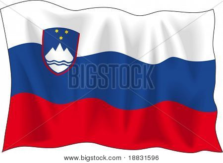 Waving flag of Slovenia isolated on white