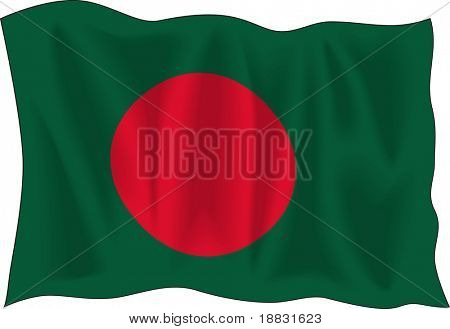 Waving flag of Bangladesh isolated on white