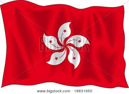 Waving flag of Hong-Kong isolated on white