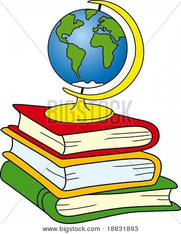 Globe on books