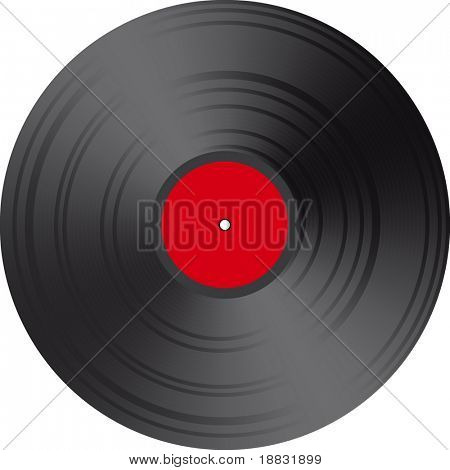 Blank Red Vector Vinyl record