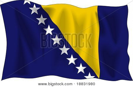 Waving flag of Bosnia and Herzegovina isolated on white
