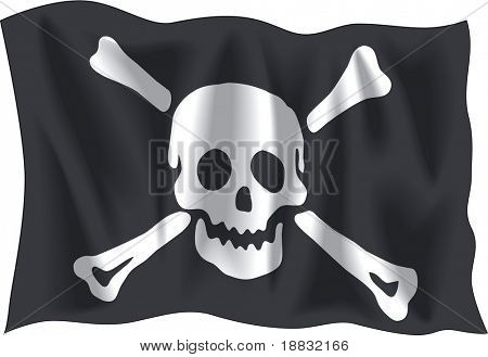 Waving Pirate Emanuel flag isolated on white background