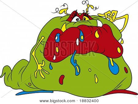 Vector illustration of ugly fat bacteria