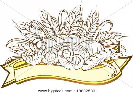 Vector illustration of breads in engraved stile