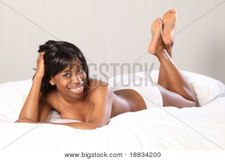 Beautiful Young Topless Black Woman Lying In Bed