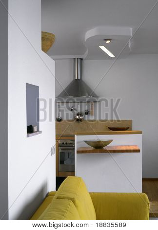 small kitchen in the flat
