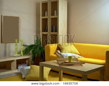 living room with yellow sofa