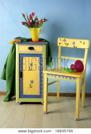 locker and chair with spring pattern