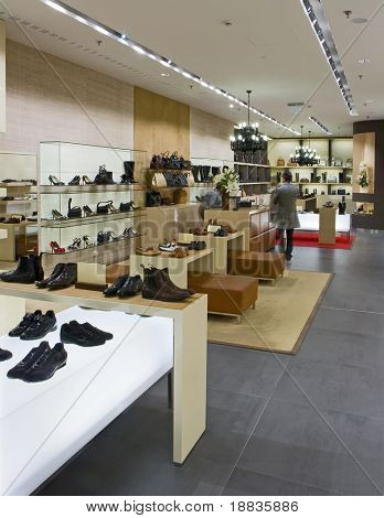 interior of modern shoe shop