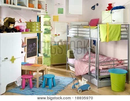 light children room with many toys