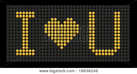 yellow button board words i love you isolated on black board