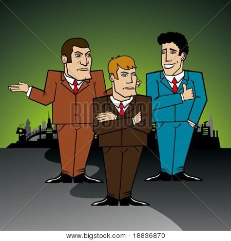 three businessmen in the big city discussing a problem