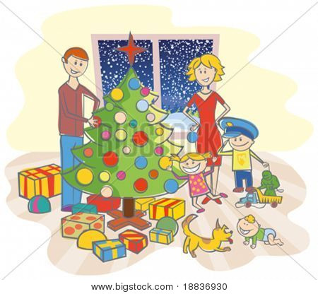 happy family mother, father, boy, girl, baby boy and dog dressing up the christmas tree