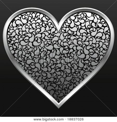 vector silver metallic heart with pattern isolated