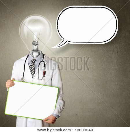 doctor with empty board  in his hands with thought bubble template, smiles at camera, isolated