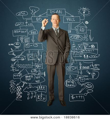 male businessman with marker writting something on glass writeboard